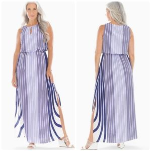 ADRIANNA PAPELL Stripe Blouson Maxi Dress …